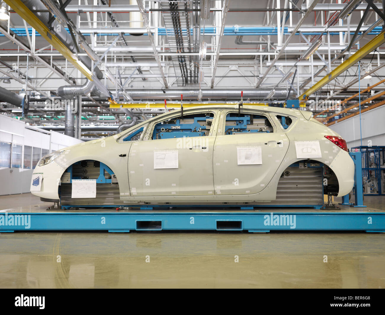 Shell Of Car During Production In Plant Stock Photo