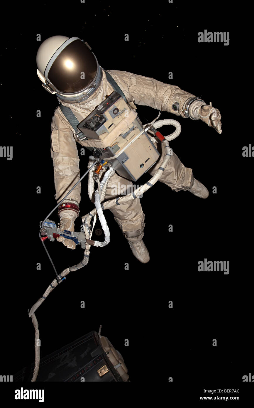 Astronaut taking space walk in museum exhibit NASA Space Center Houston Texas USA - Stock Image