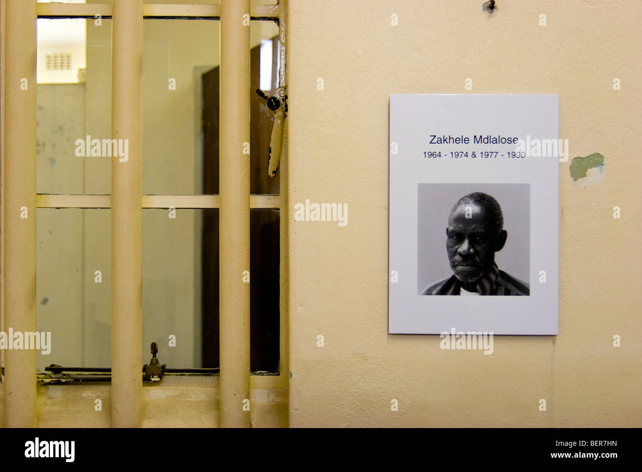 Prison cell, Robben Island Museum, Cape Town, South Africa - Stock Image