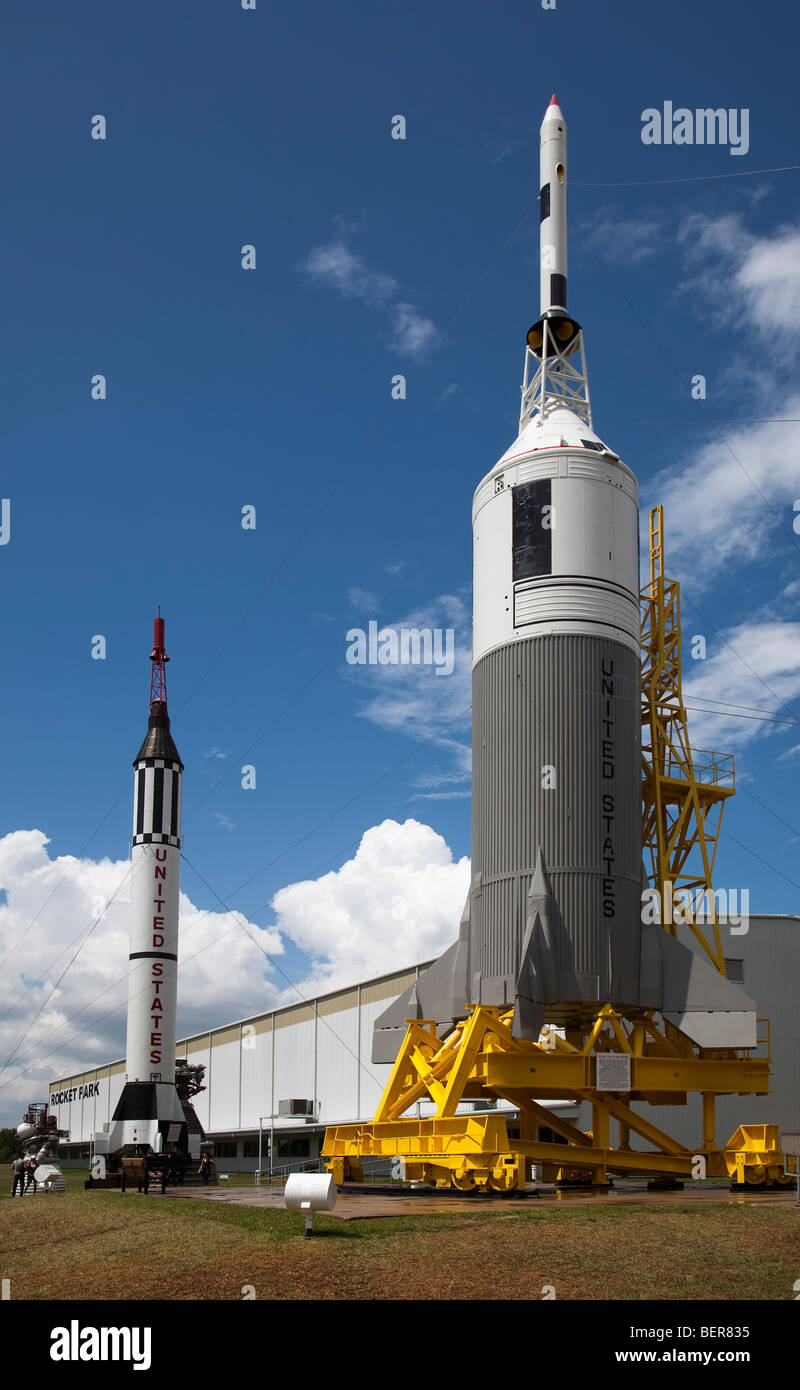 Space rockets Little Joe II and BP22 in the Rocket Park NASA Space Center Houston Texas USA - Stock Image