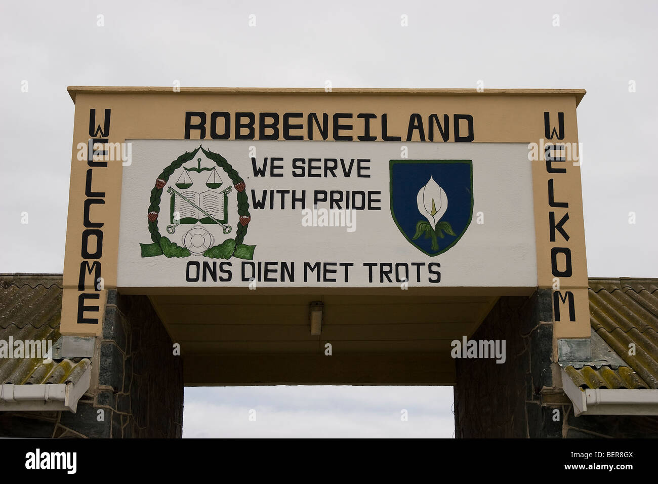 Entrance sign, Robben Island Museum, Cape Town, South Africa - Stock Image