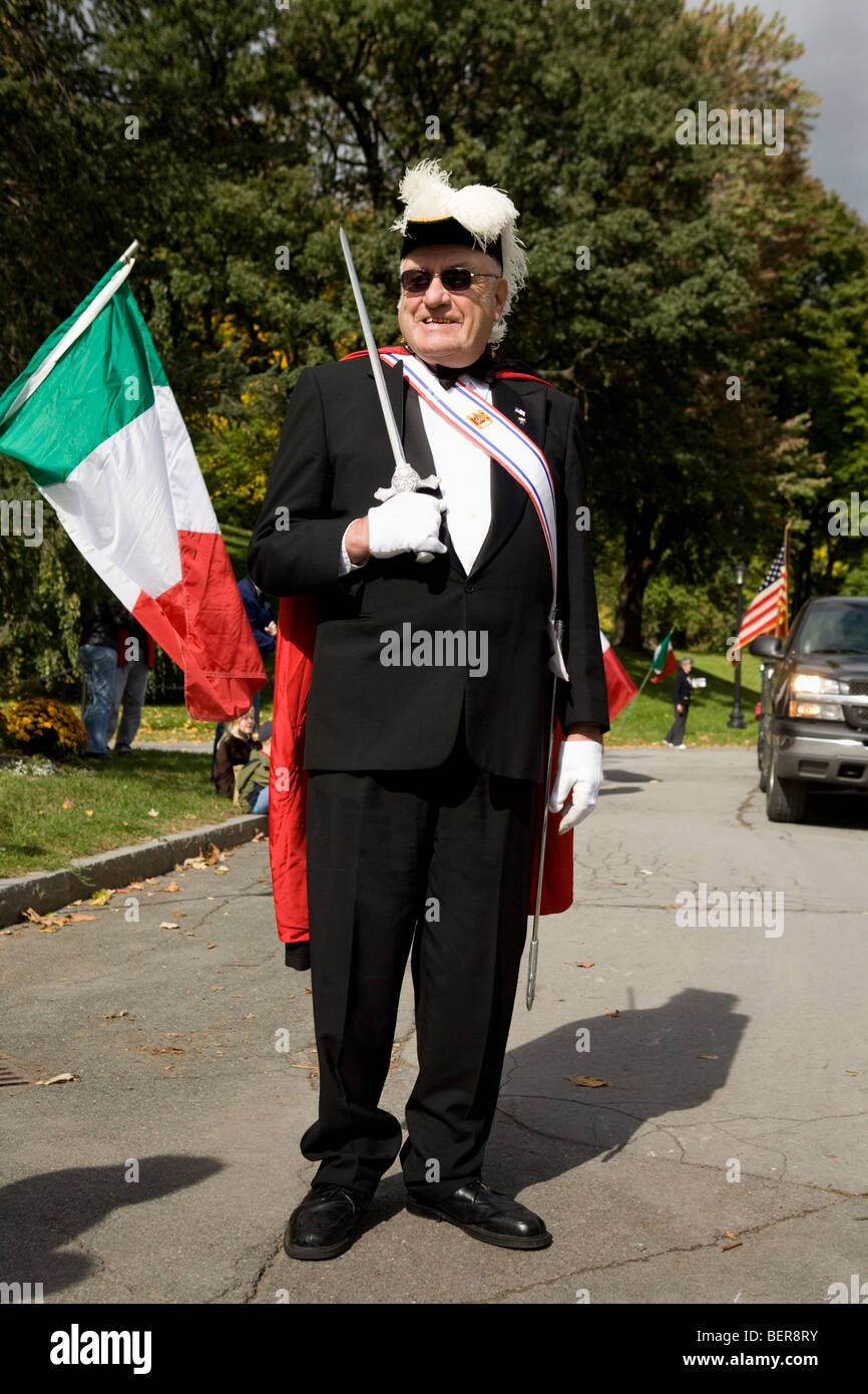 Member of Knights of Columbus at Columbus Day Parade, Albany, New York - Stock Image