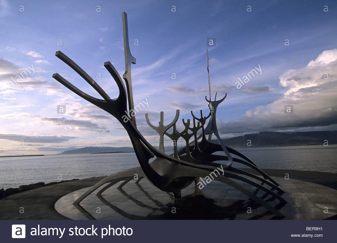 Viking Ship Sculpture, Reykjavik, Iceland - Stock Image