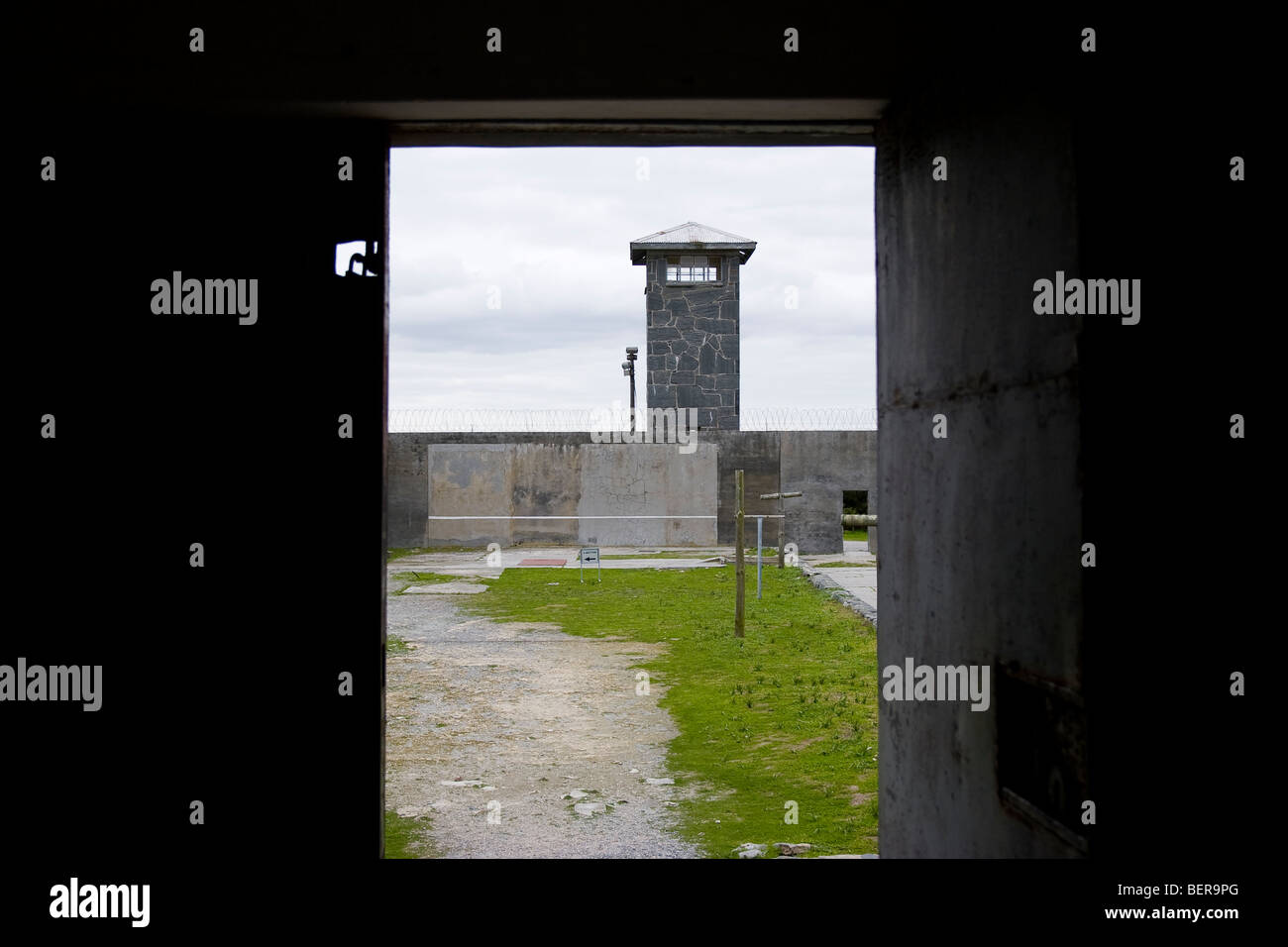 Prison courtyard, Robben Island Museum, Cape Town, South Africa - Stock Image