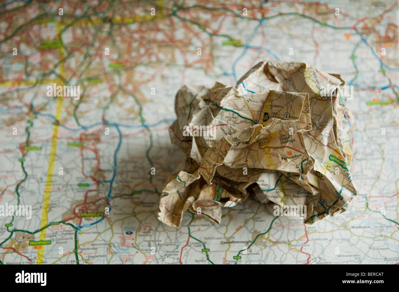 S E England Map.A Scrunched Up Map Placed On A Road Map Of Se England Soft Focus
