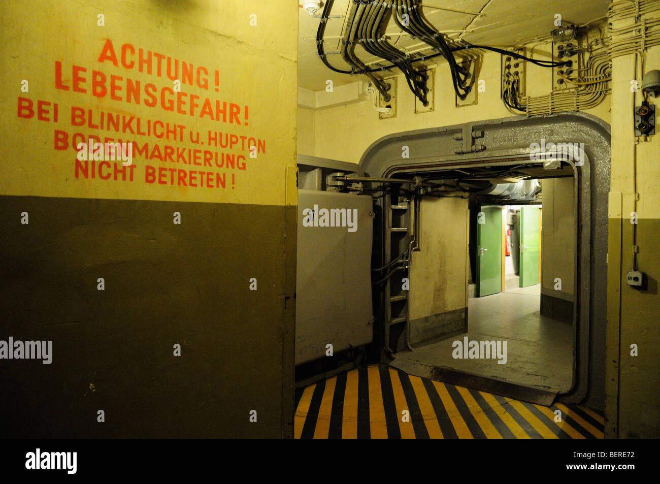 Warning Notice In Front Of Steel Door In Former West German Stock