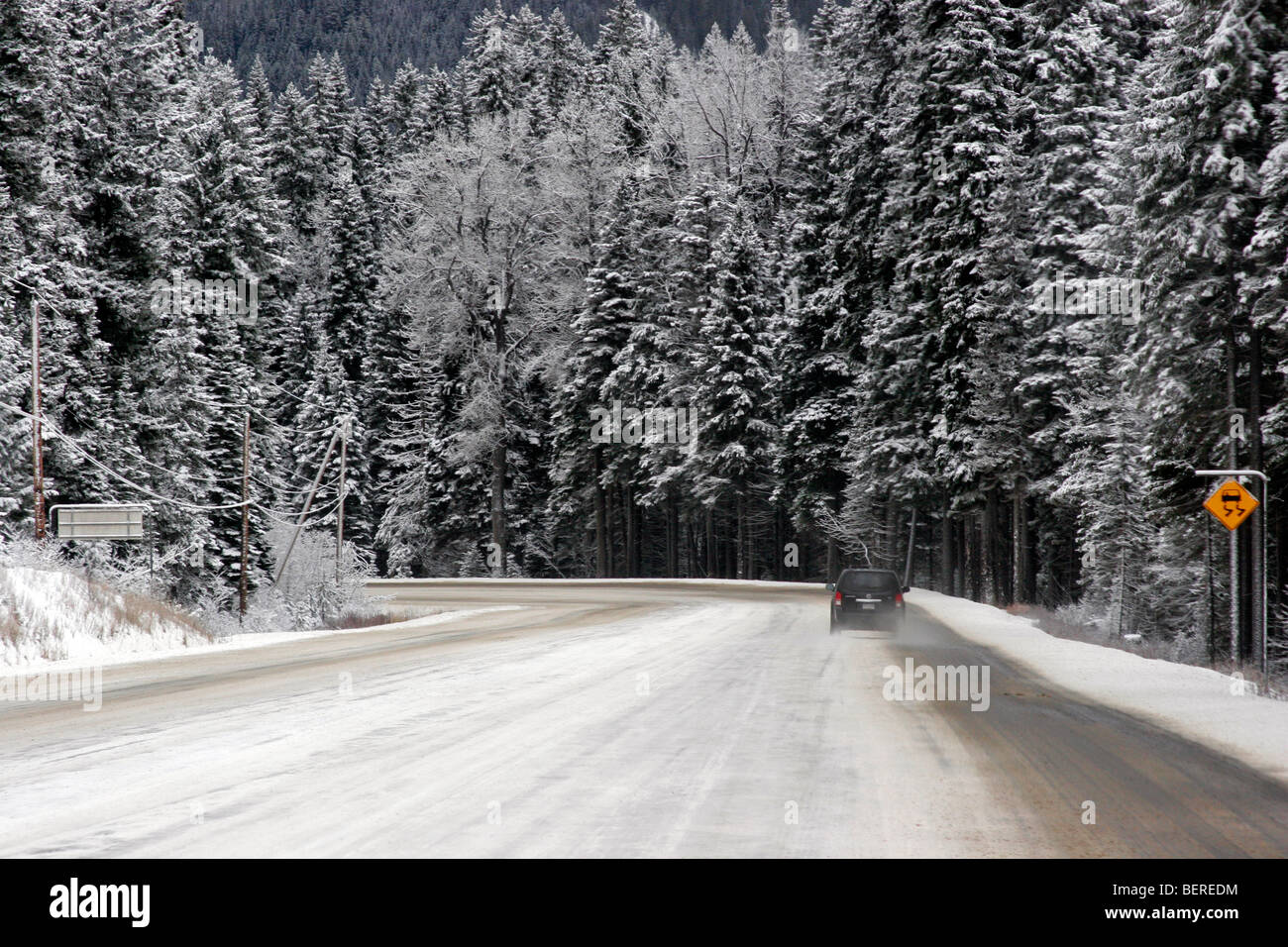 Slippery road during cold winter day in Vancouver, British Columbia Canada Stock Photo