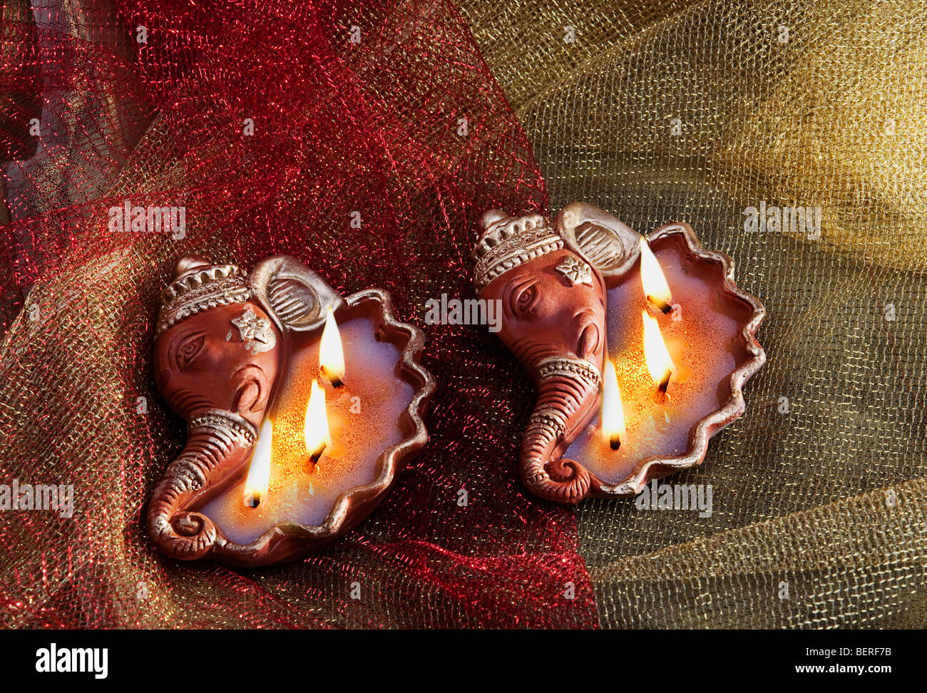 Decorative diyas - Stock Image