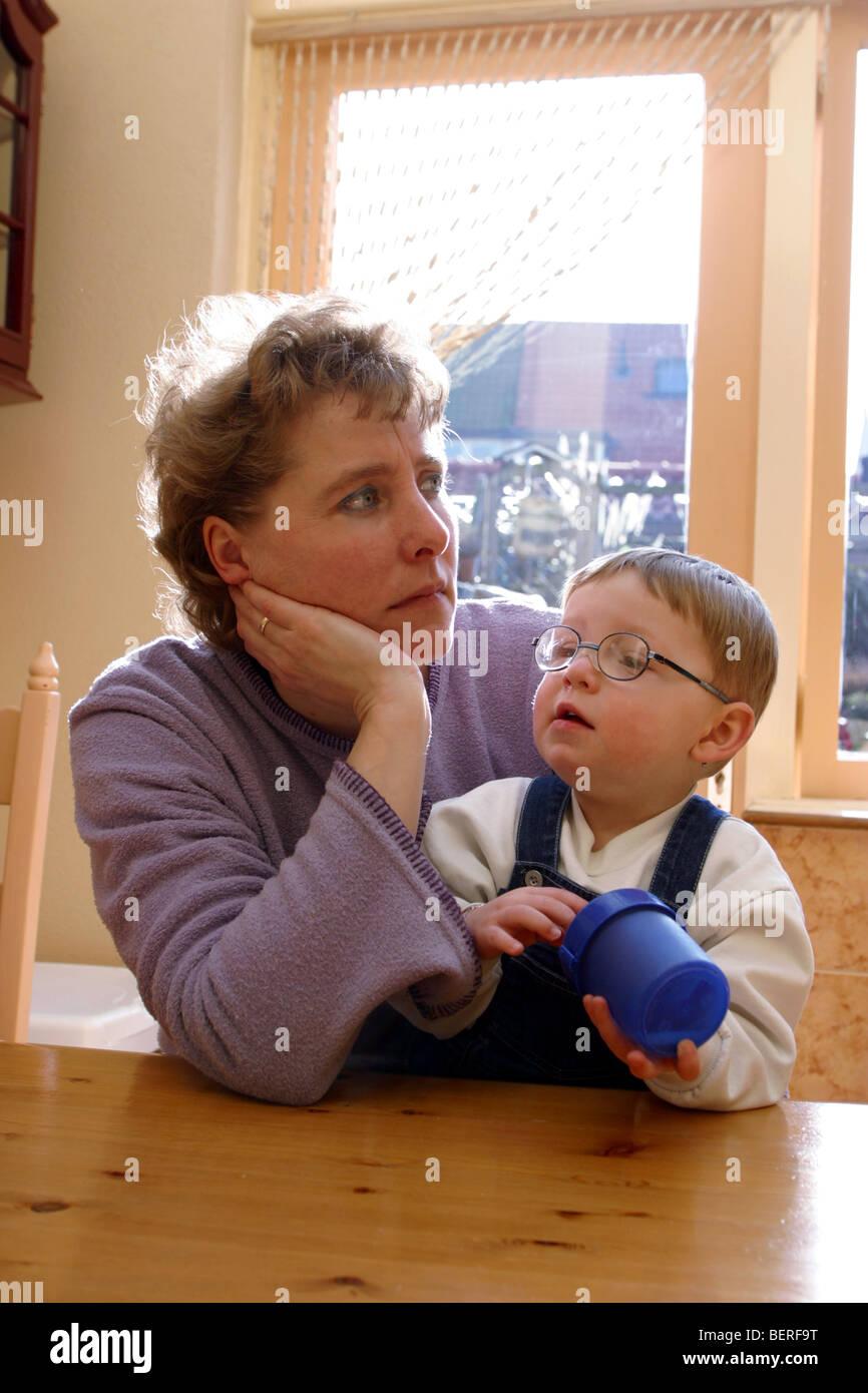 Depression Ponder About Eye Sight Toddler Boy Depressed Mum Stock