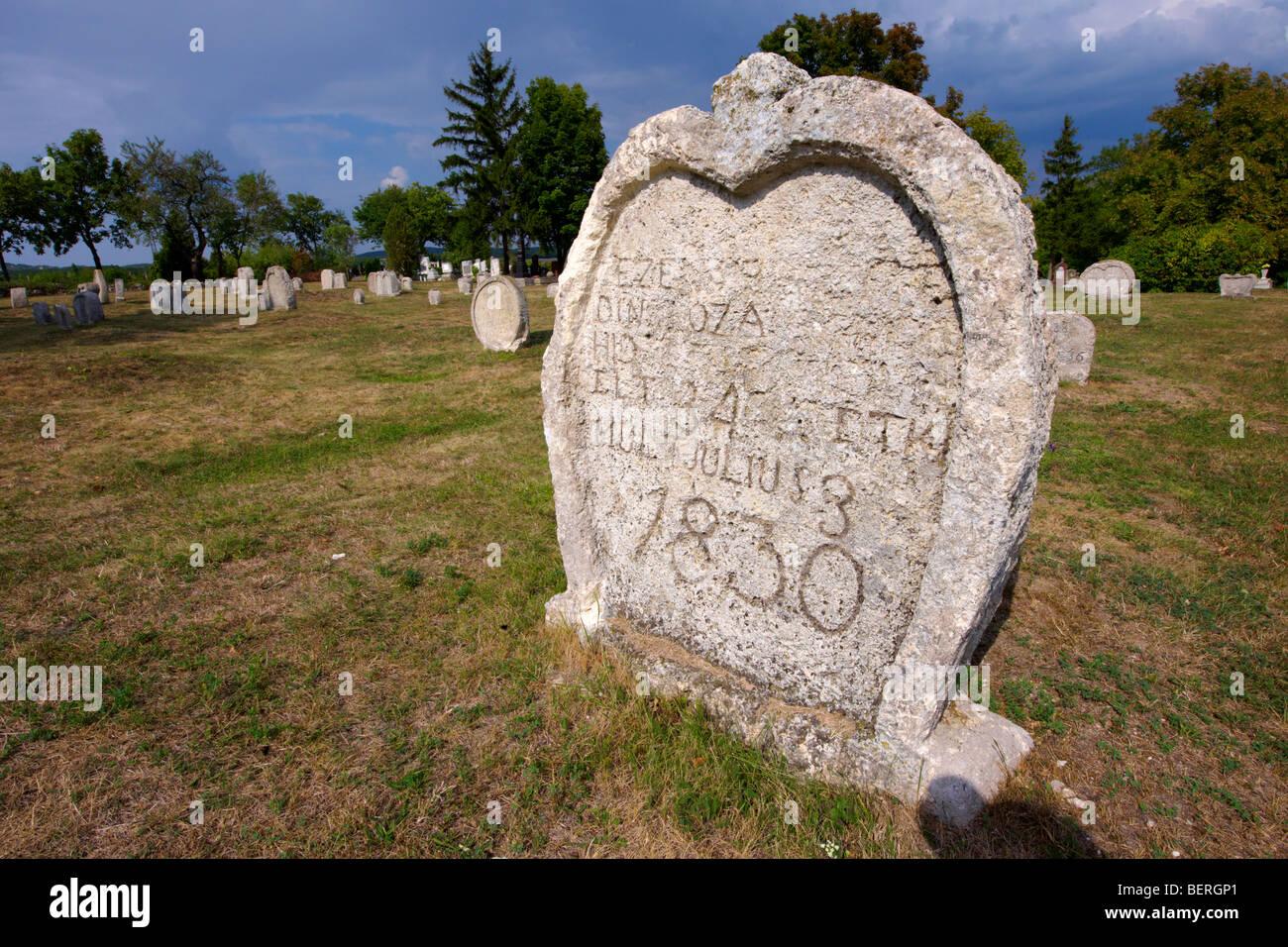 Early 19th century grave stone of the Balatonudvari cemetery - Balaton Hungary - Stock Image