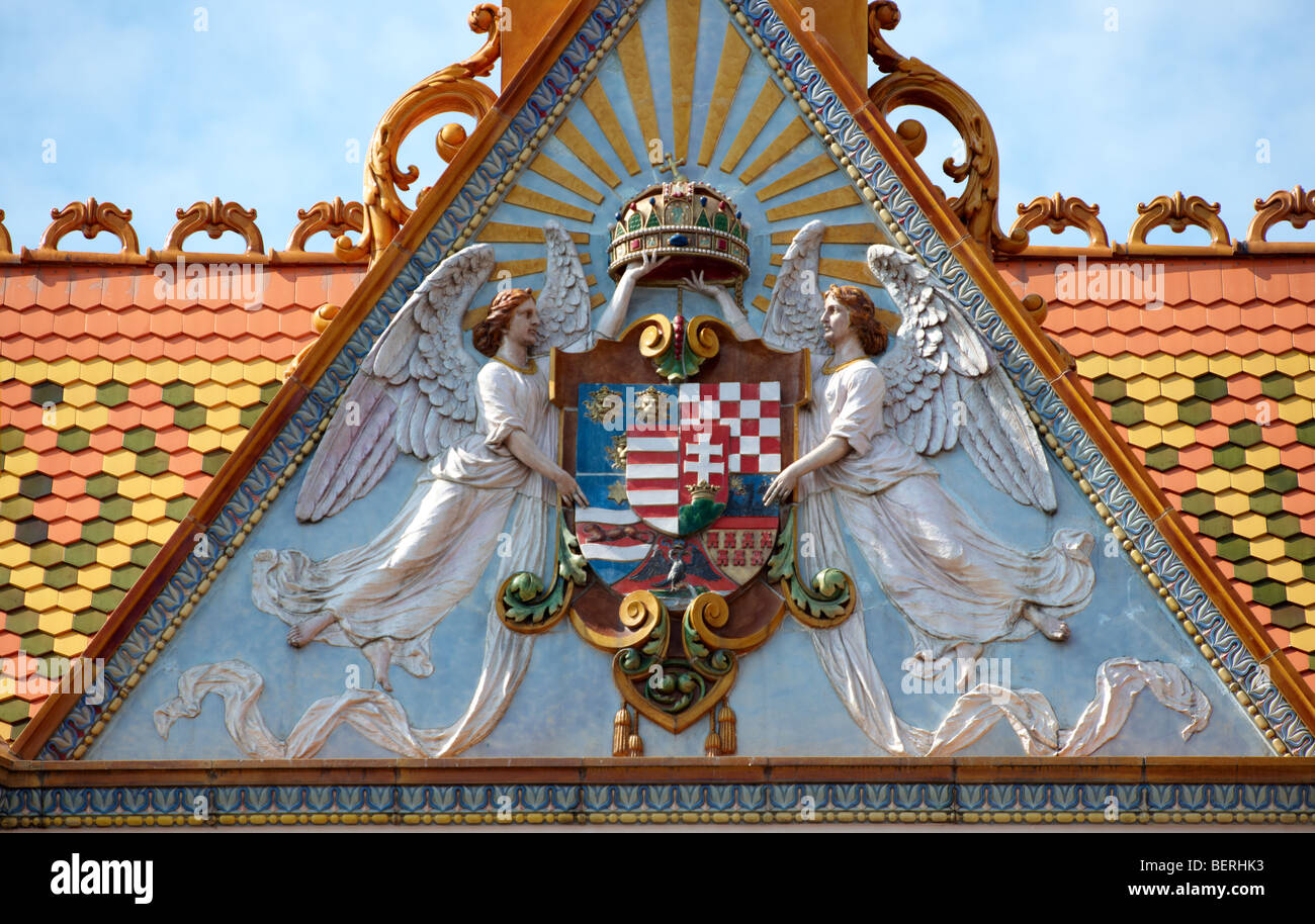 Zsolnay ornamentation on the Post ( Posta ) Building, Pecs ( P cs ) - European Cultural City of The Year 2010 , - Stock Image