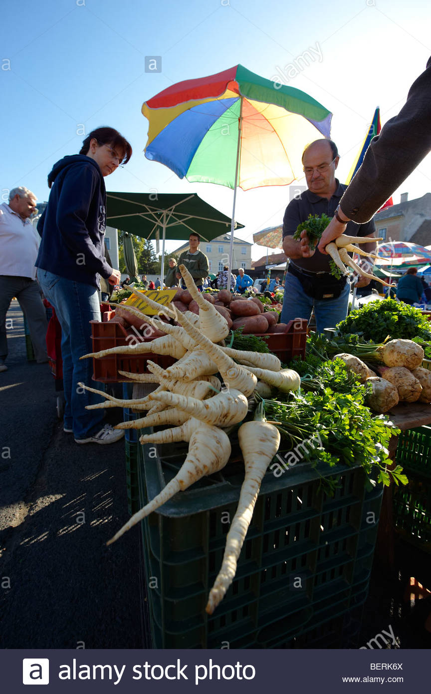 Farmers fruit and vegetable market, Gyor ( Győr ) Hungary - Stock Image