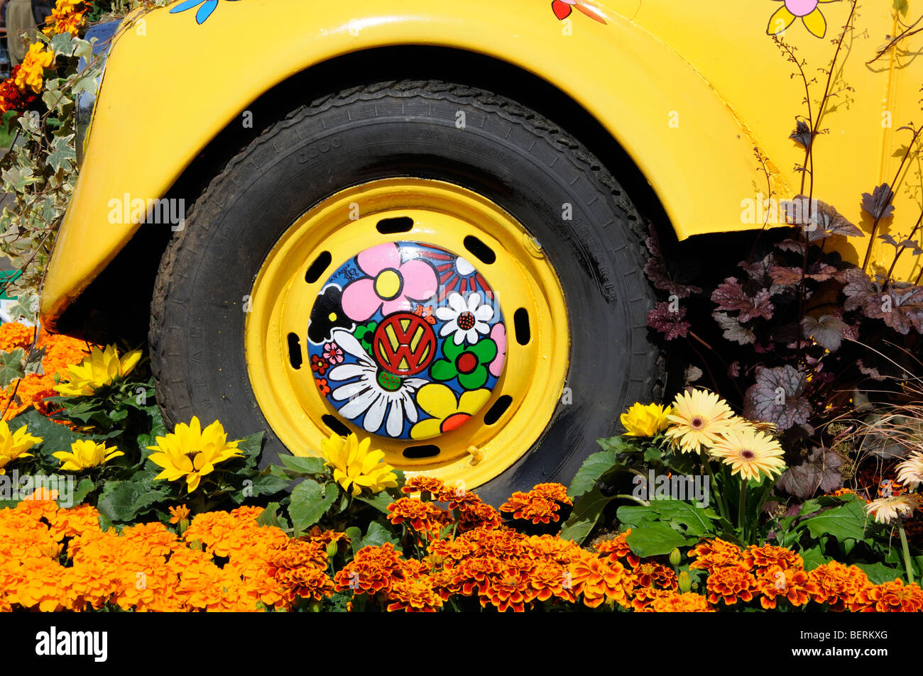 Wheel of the VW beetle 'Perennial Petal Power' at Gardening Scotland 2009, Ingliston, Edinburgh, Scotland, - Stock Image
