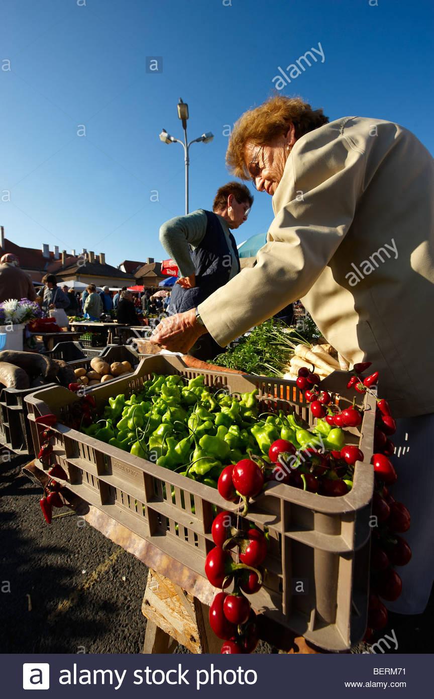 Farmers fruit and vegetable market, Gyor ( Győr ) Hungary - Stock Image