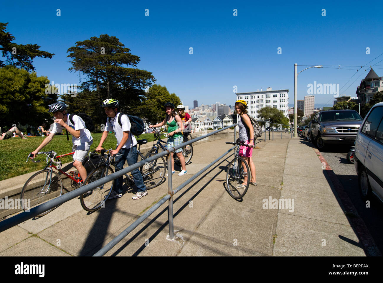 San Francisco Bicyclists at Alamo Square. Photo copyright Lee Foster.  Photo # 20-casanf79126 - Stock Image