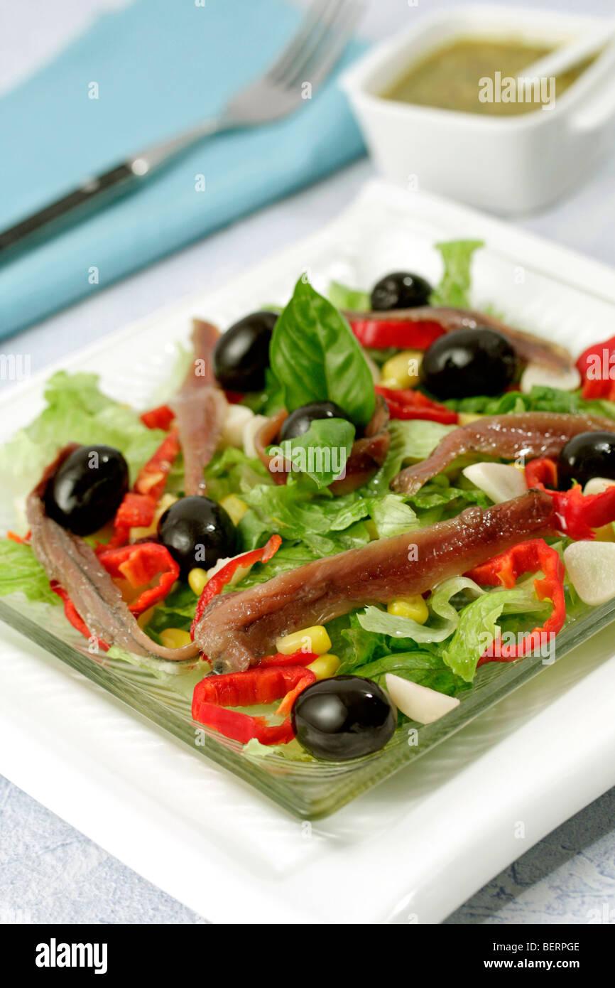 Mediterranean salad. Recipe available. Stock Photo