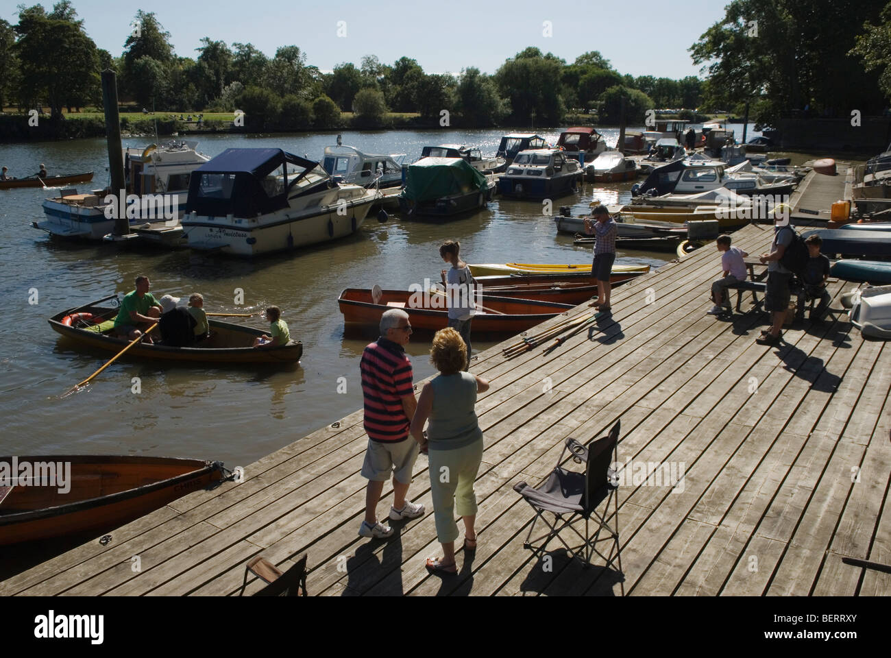 River Thames Private jetty point for pleasure craft and boats for hire Twichenham Surrey HOMER SYKES - Stock Image