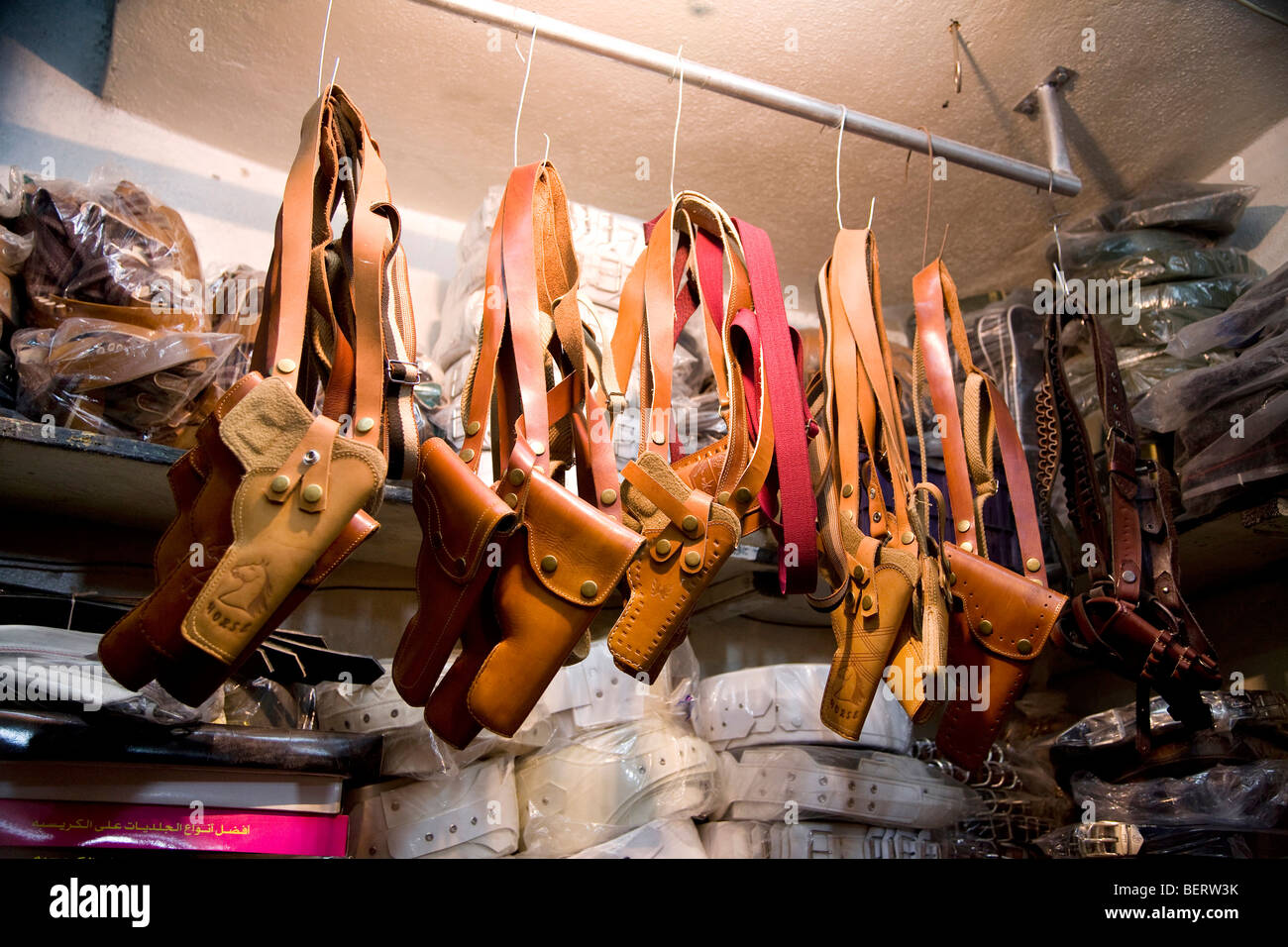 Handgun holsters for sale in the bazaar, Aleppo, Syria, Middle East - Stock Image