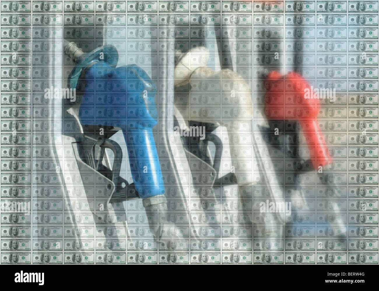 Gas pumps with paper money overlay Stock Photo