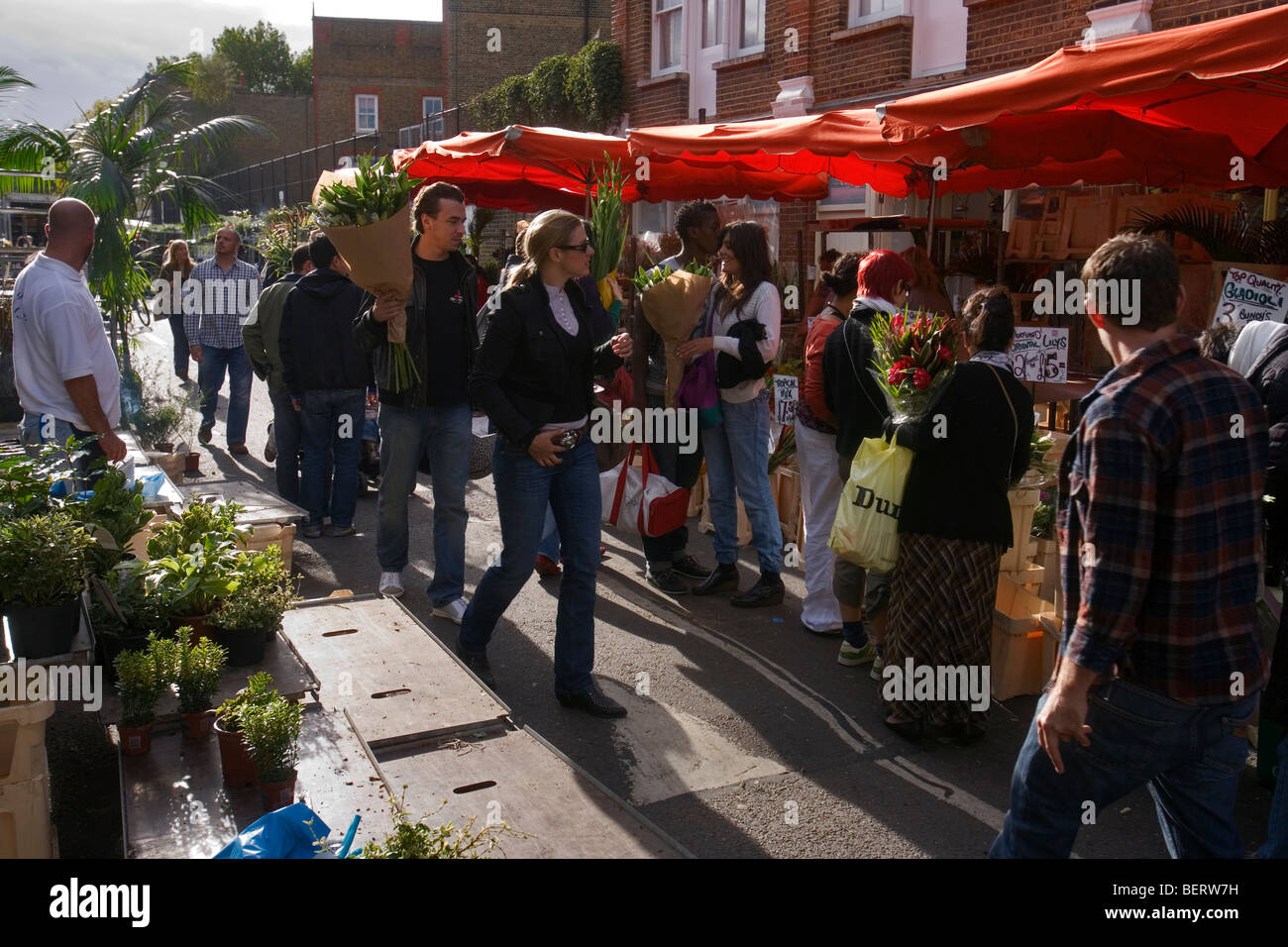 columbia road flower market in london's eastend Stock Photo