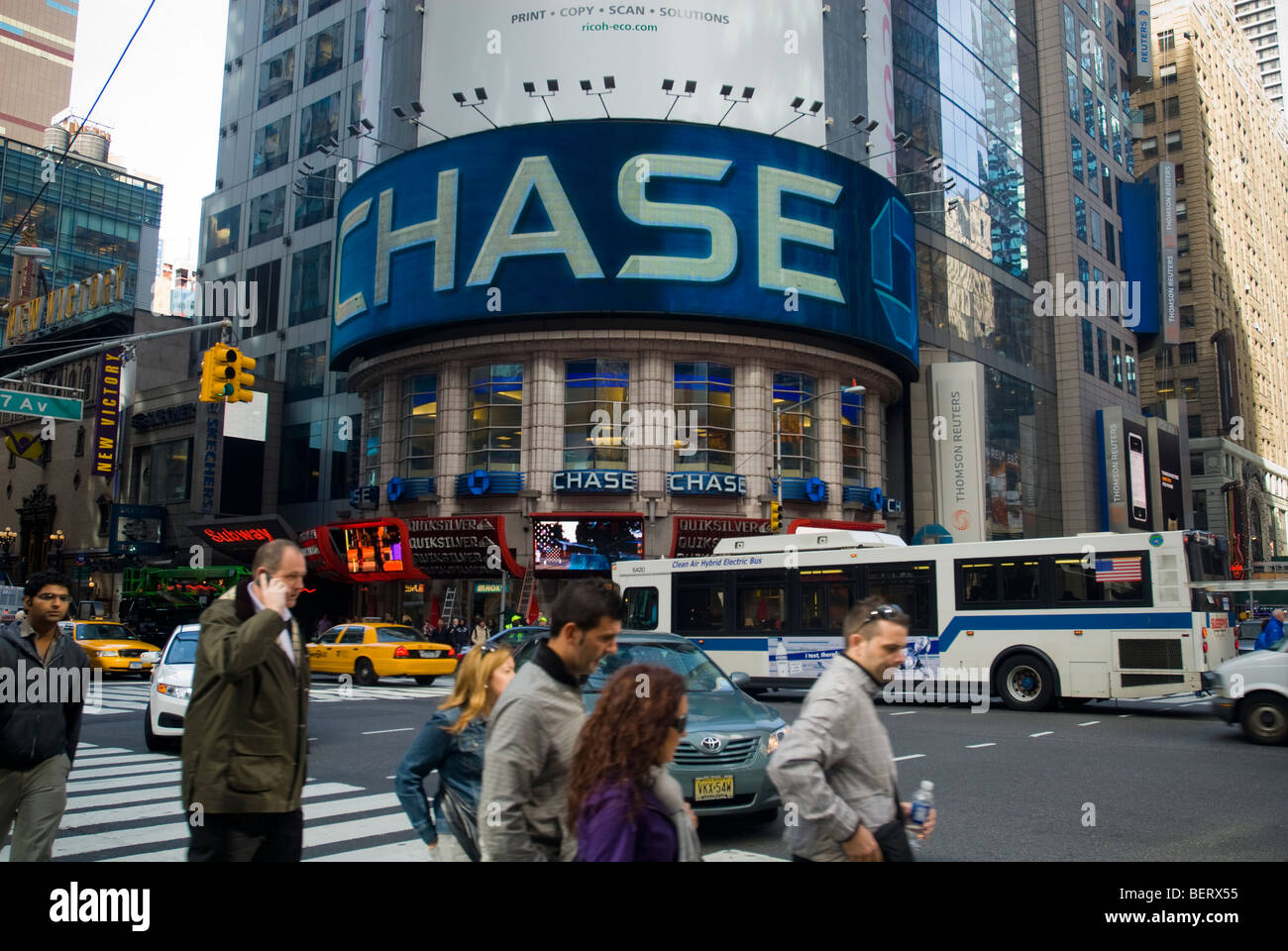 jpmorgan chase bank in times square in new york stock photo