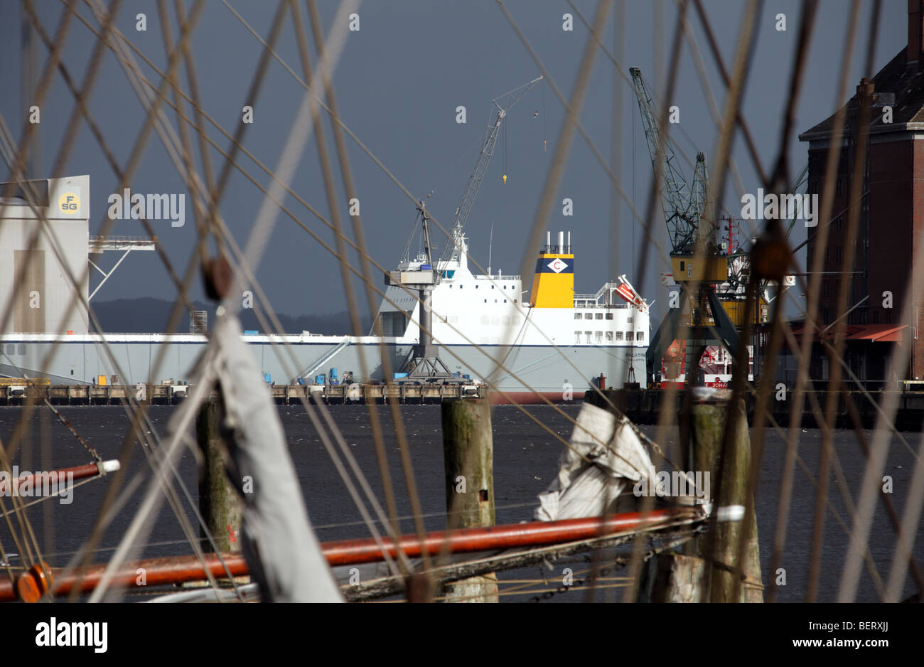 Brand-new container ship, built in 2009 by Flensburger Schiffbau-Gesellschaft for Cobelfret - Stock Image