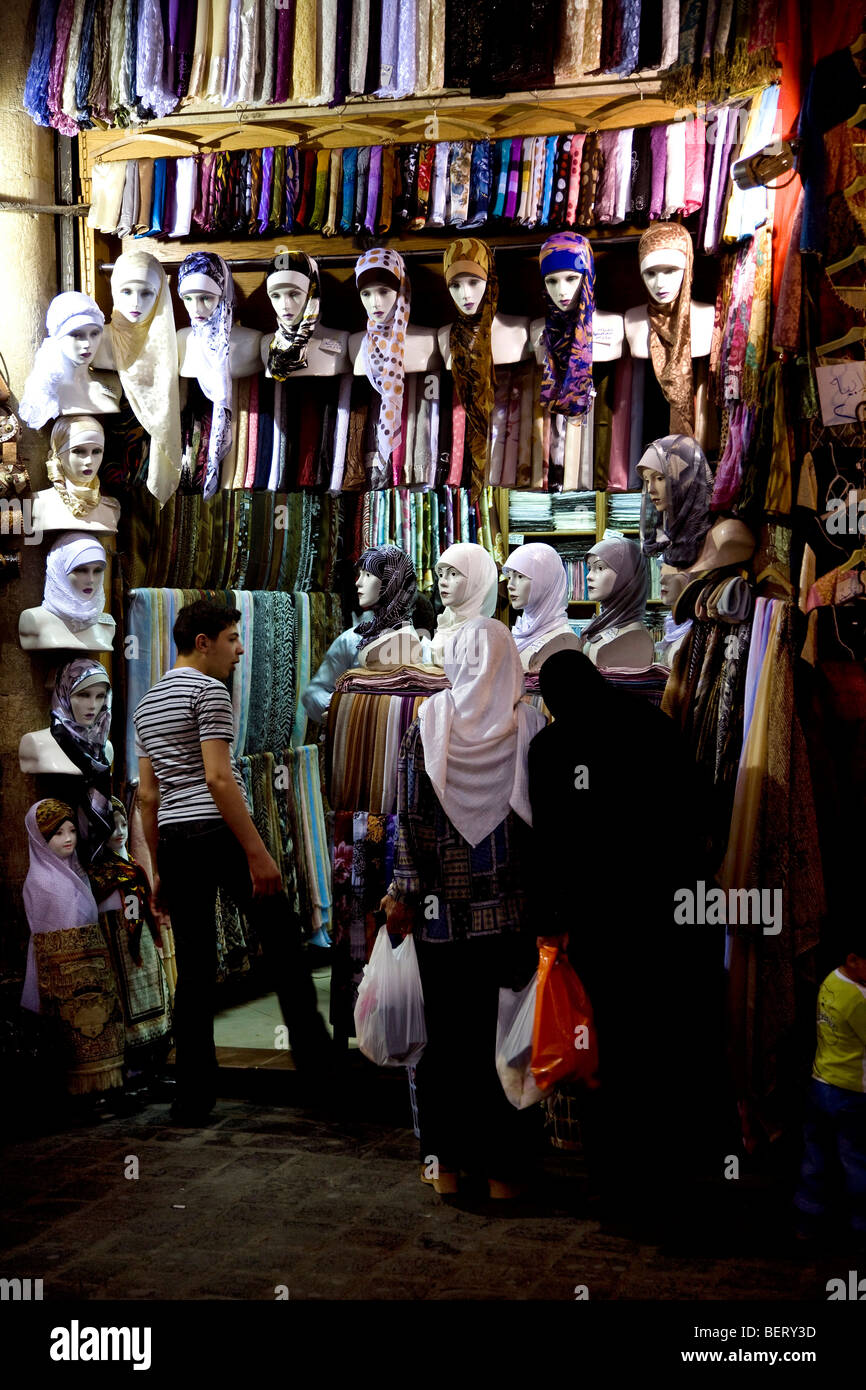 Women shopping in shop at the bazaar, Damascus, Syria, Middle East - Stock Image