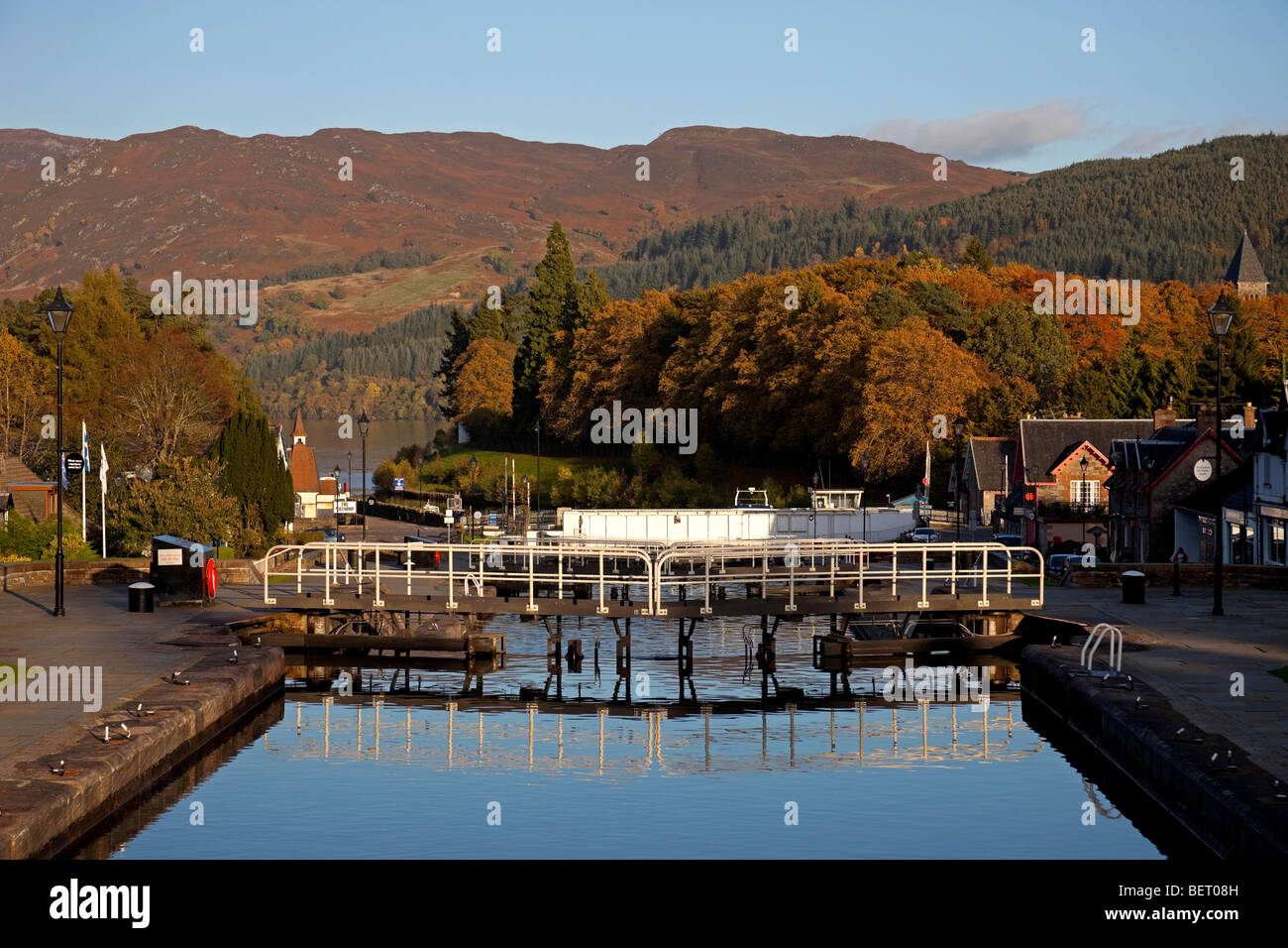 Fort Augustus, Caledonian Canal Lock Gates Scotland UK Europe - Stock Image
