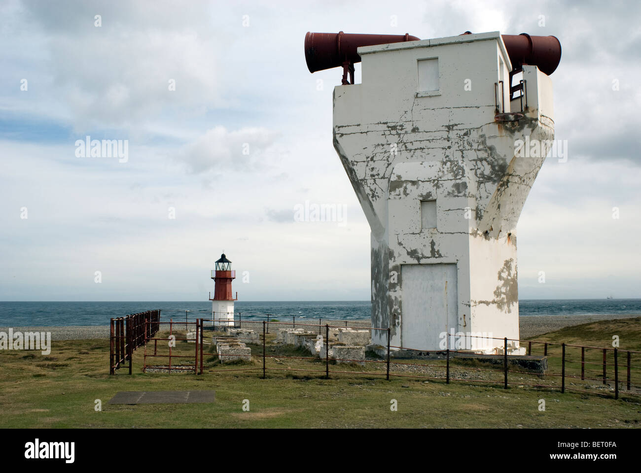 Fog horn at the Point of Ayre on the North coast of the Isle of Man - Stock Image