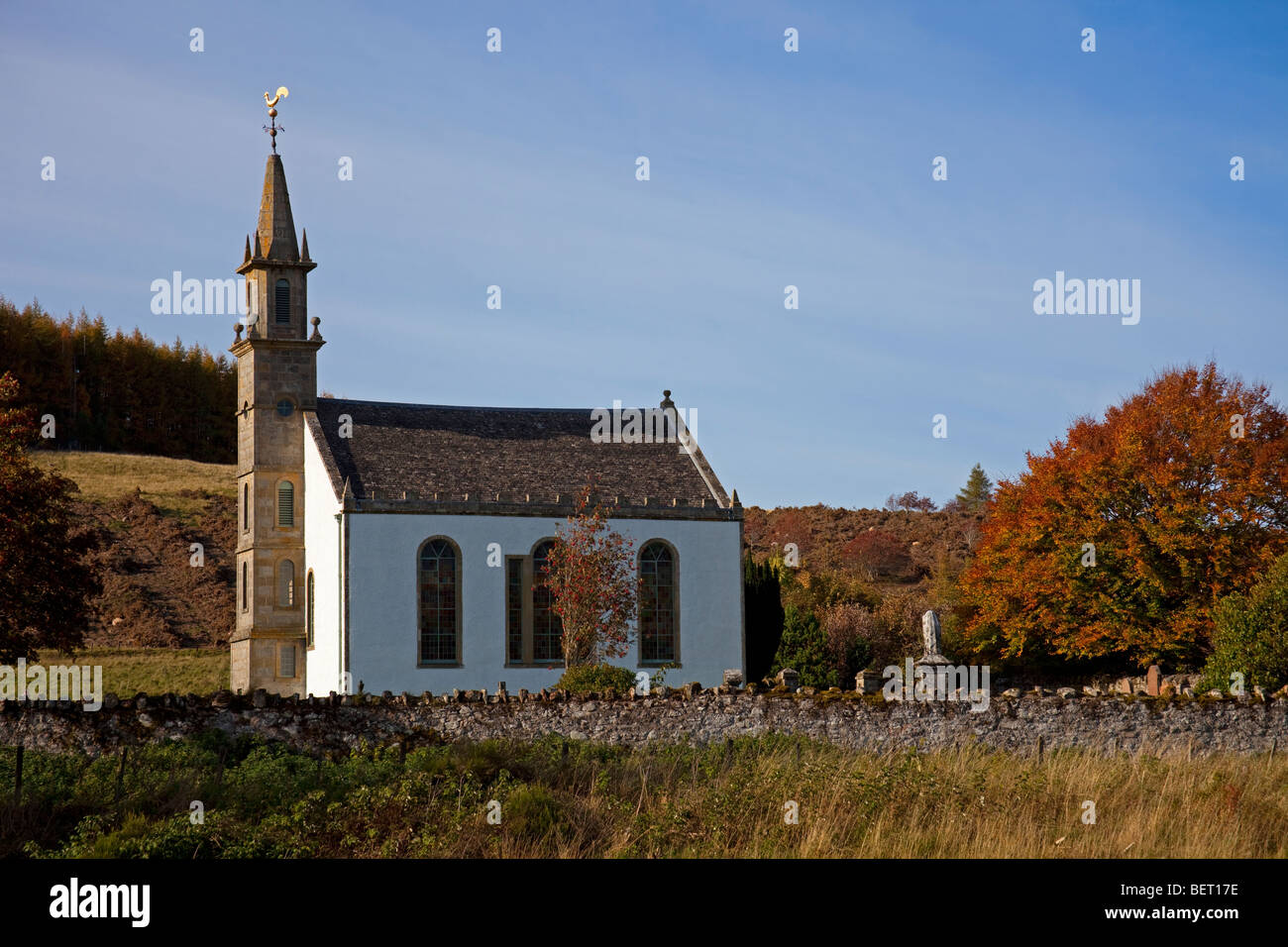Daviot church, during autumn season Inverness-shire, Scotland UK, Europe - Stock Image
