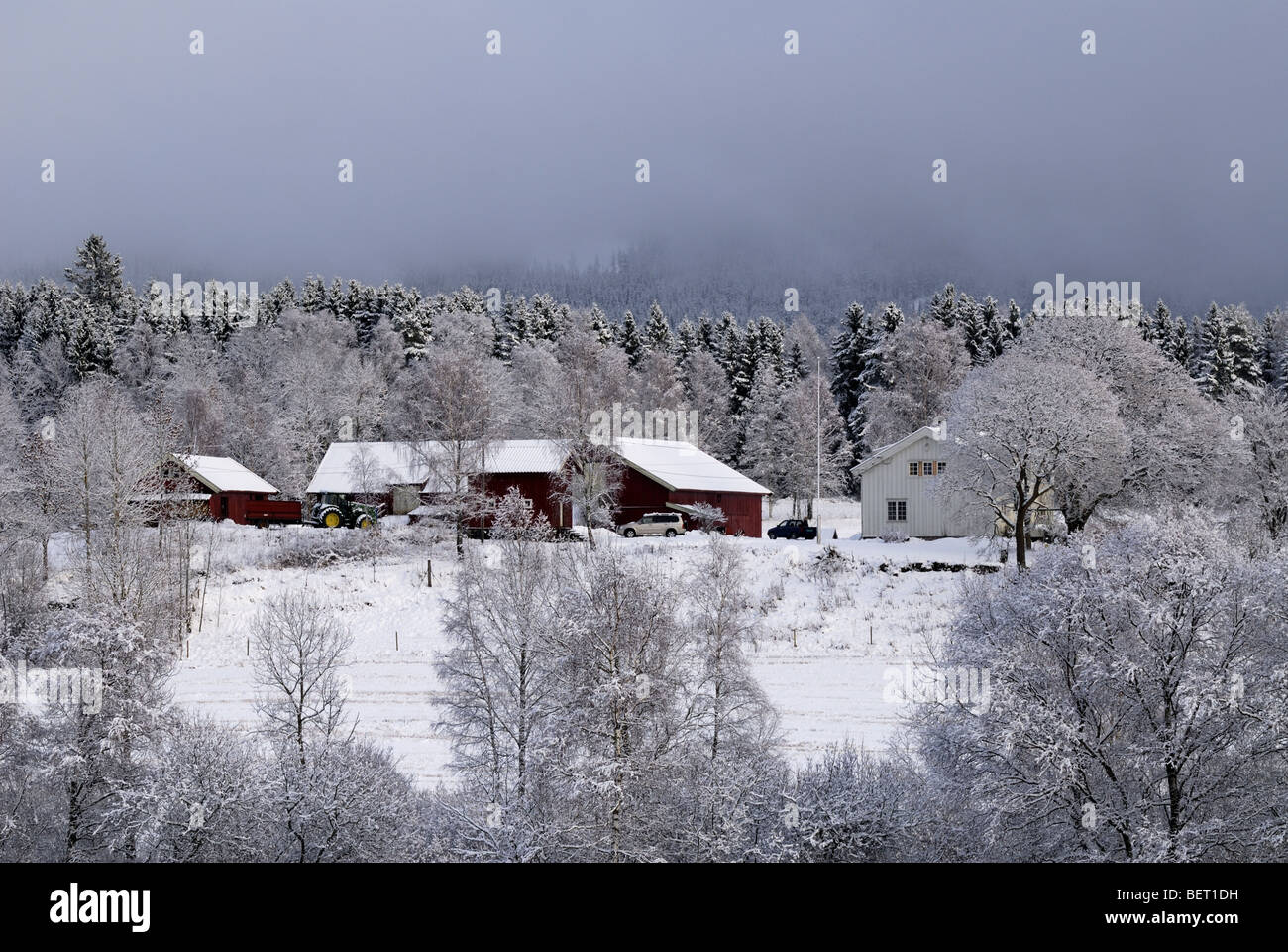 Farmhouses an snow covered field - Stock Image