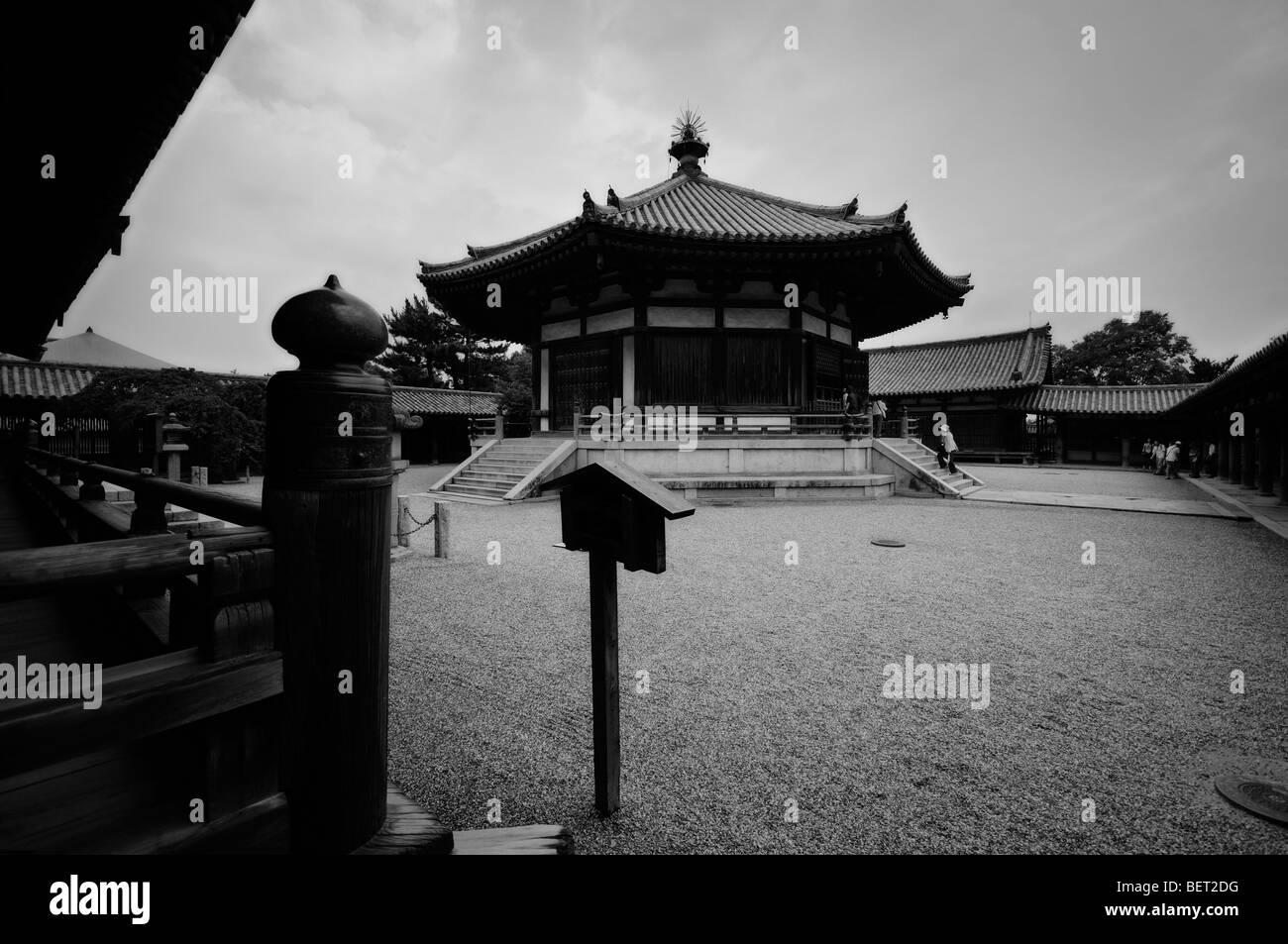 Yumedono (Hall of Dreams). To-in area. Horyu-ji complex. Ikaruga. Nara Prefecture. Kansai (aka Kinki) region. Japan Stock Photo