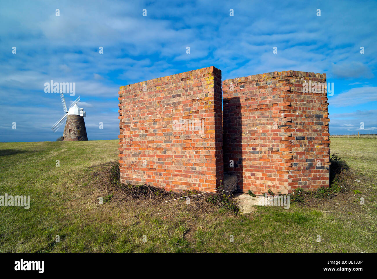 Remnants of WWII anti-aircraft installations next to Halnaker Windmill overlooking Chichester in Sussex UK - Stock Image