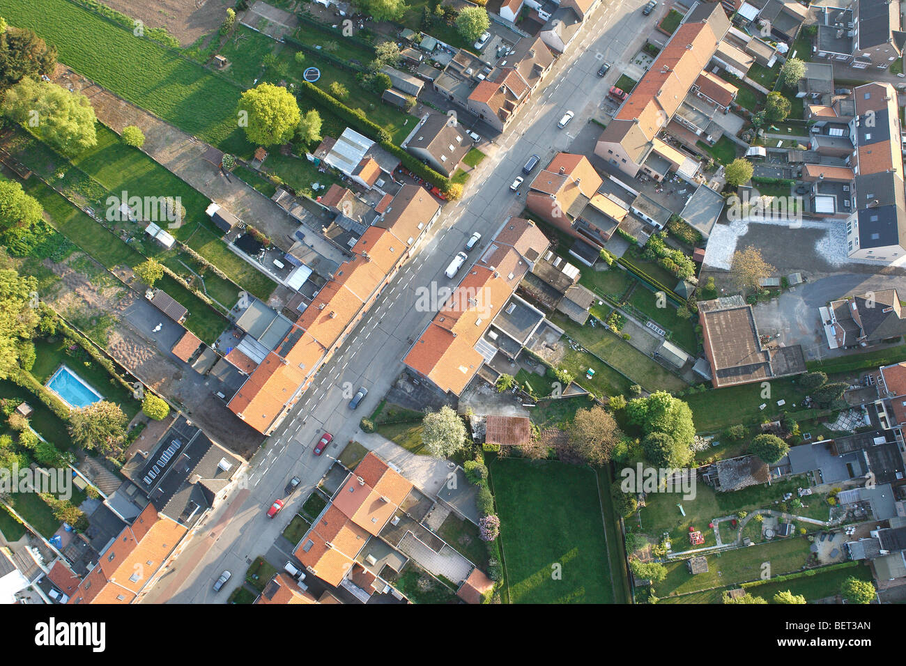 Ribbon development, urbanisation at the border of agricultural area from the air, Belgium - Stock Image