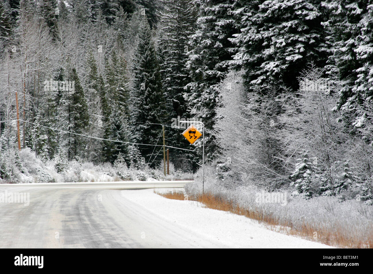 Slippery roads during winter day in Vancouver, Beautiful British Columbia, Canada - Stock Image