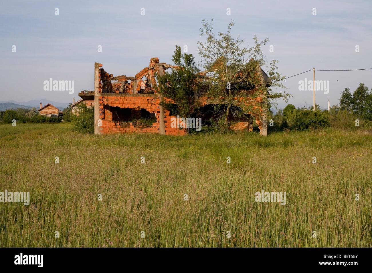 A war damaged Muslim building in the village of Kevljani, northwest Bosnia and Herzegovina. Stock Photo