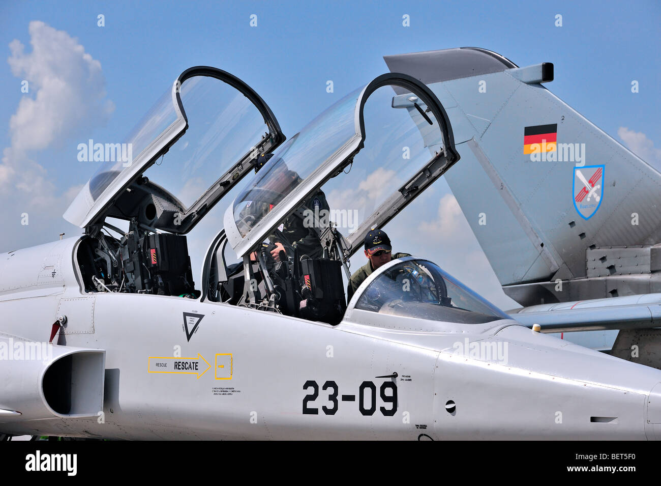 Cockpit of jet fighter plane at the airshow at Koksijde, Belgium - Stock Image