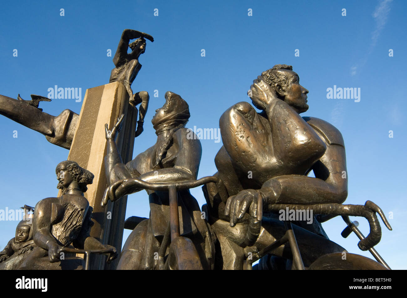 Sculpture group with fountain at the square Het Zand in the city Bruges, West Flanders, Belgium - Stock Image
