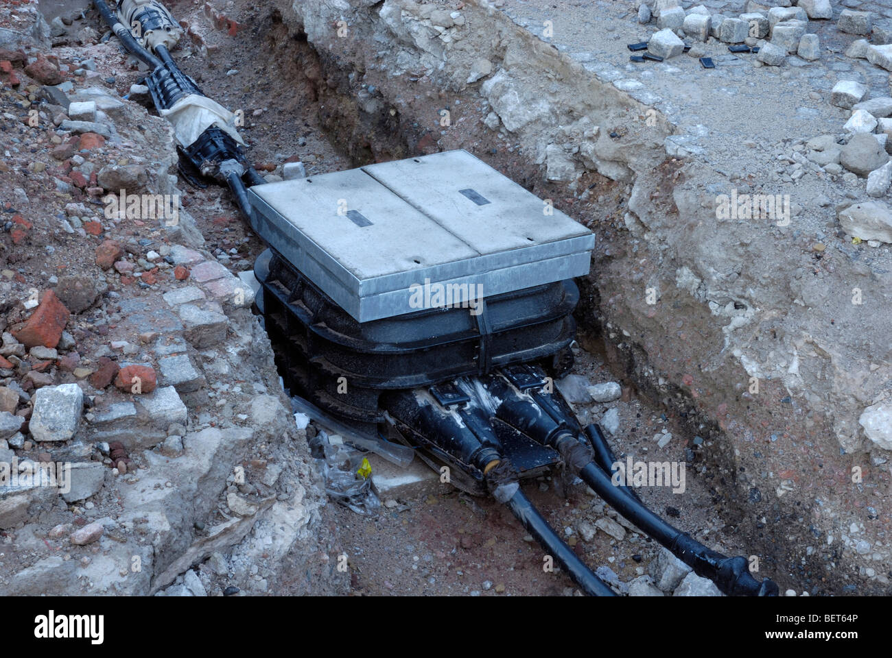 underground electricity cable junction box being installed stock rh alamy com underground electricity box underground wiring box