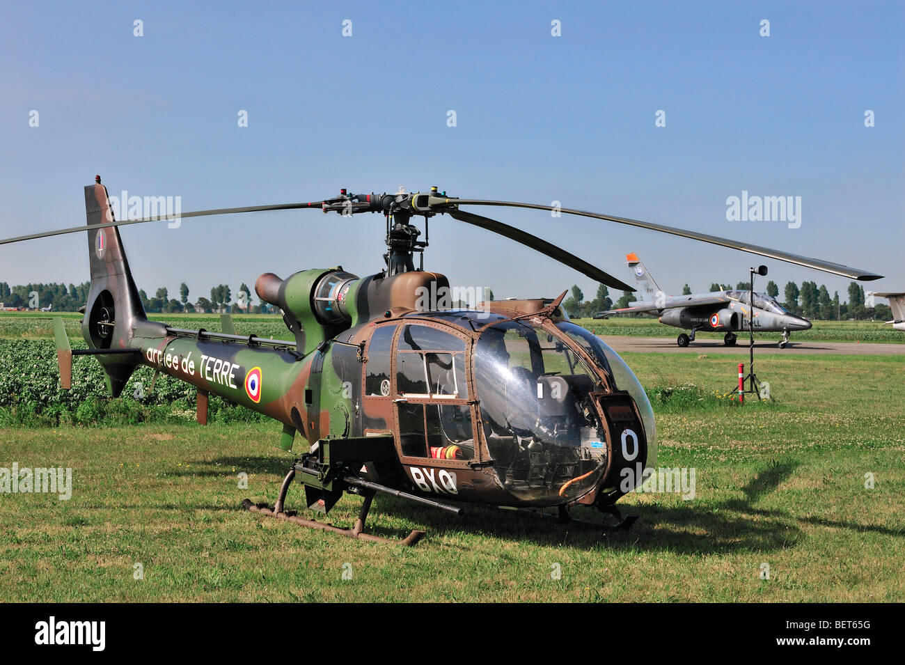 Military helicopter at airshow in Koksijde, Belgium - Stock Image