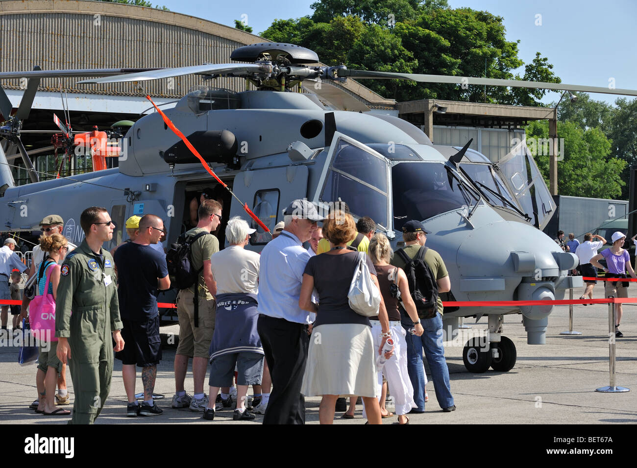 Military Lynx helicopter at airshow in Koksijde, Belgium - Stock Image