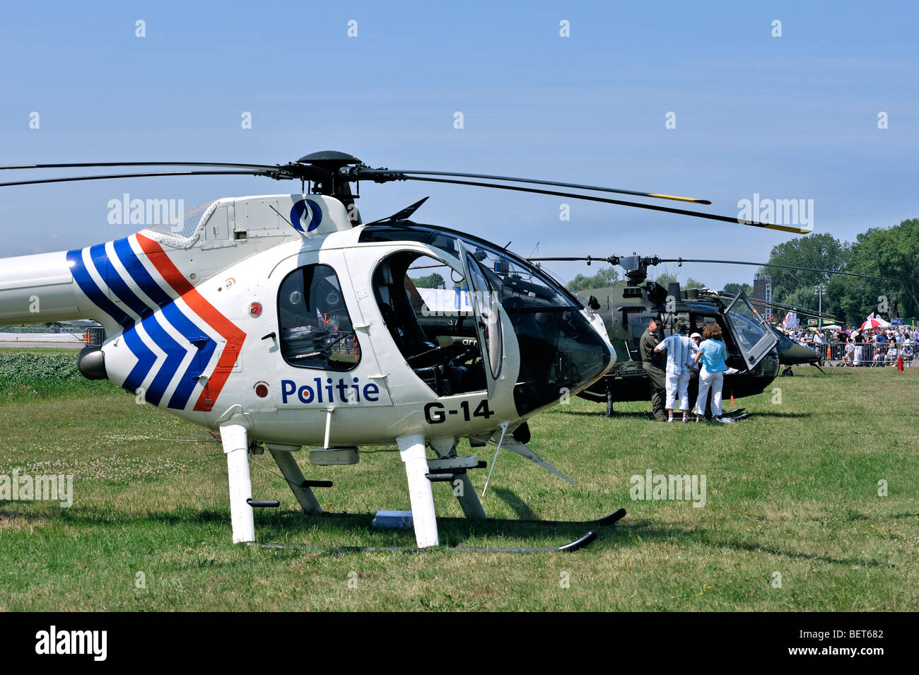 Police helicopter MD 520N at airshow in Koksijde, Belgium - Stock Image
