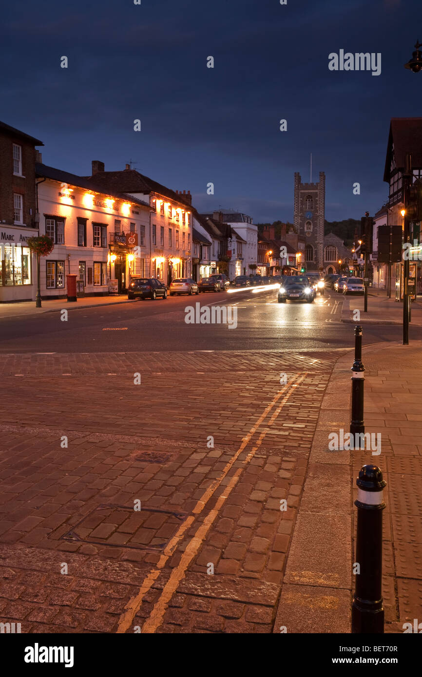 Looking along Hart Street towards St Mary the Virgin church at dusk, Henley on Thames, Oxfordshire, Uk - Stock Image
