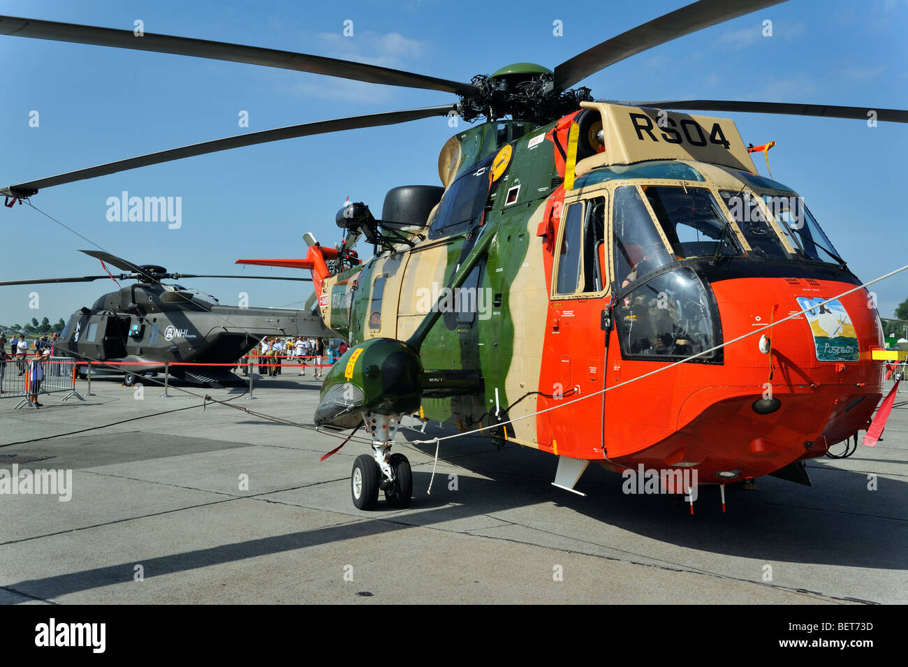The Sea King military helicopter at airshow in Koksijde, Belgium - Stock Image