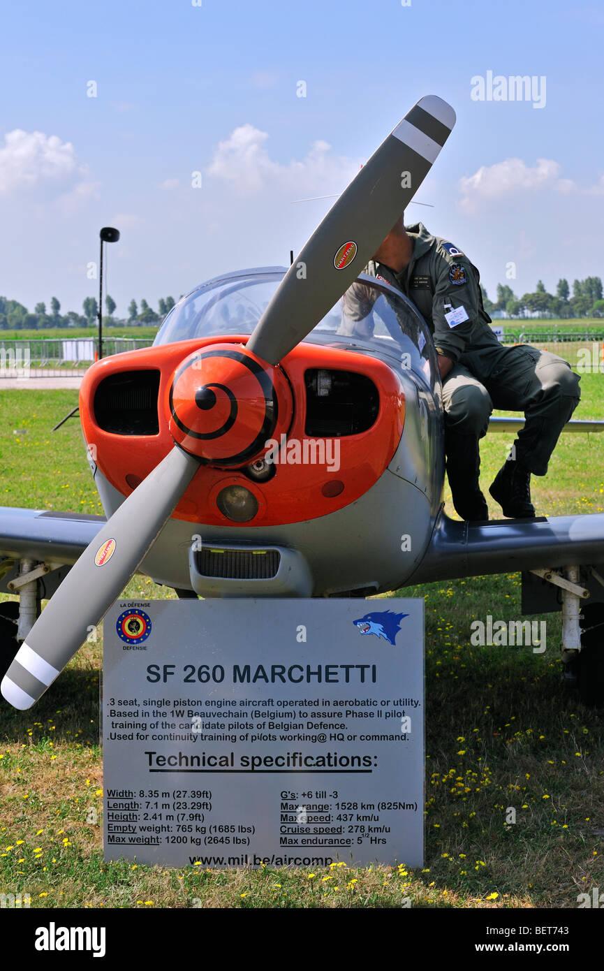 Aeroplane / Airplane SF 260 Marchetti with pilote at the airshow at Koksijde, Belgium - Stock Image