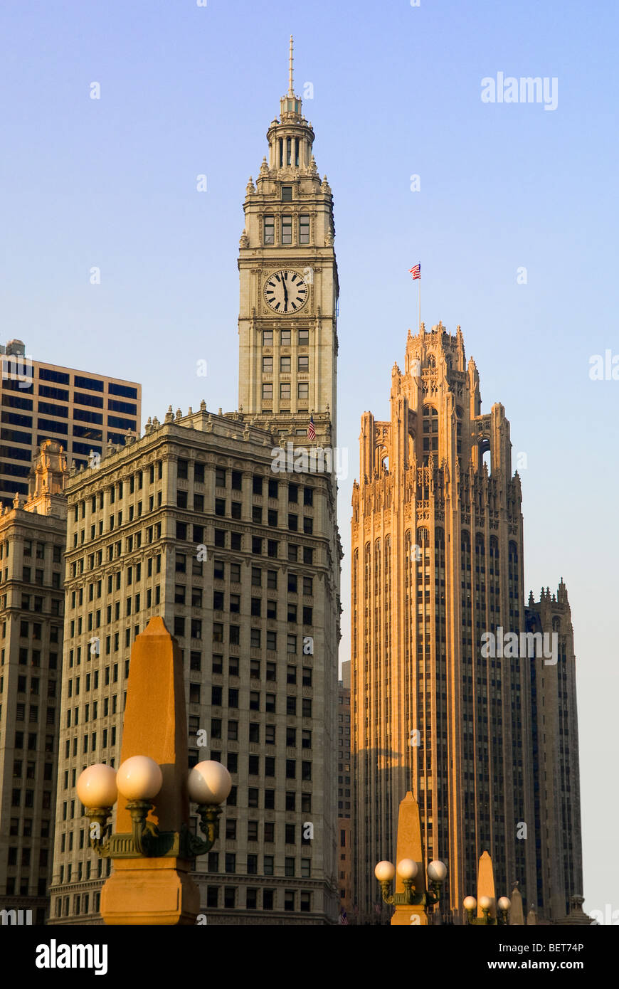 The Wringley Building and Tribune Tower in Chicago, Illinois, USA - Stock Image