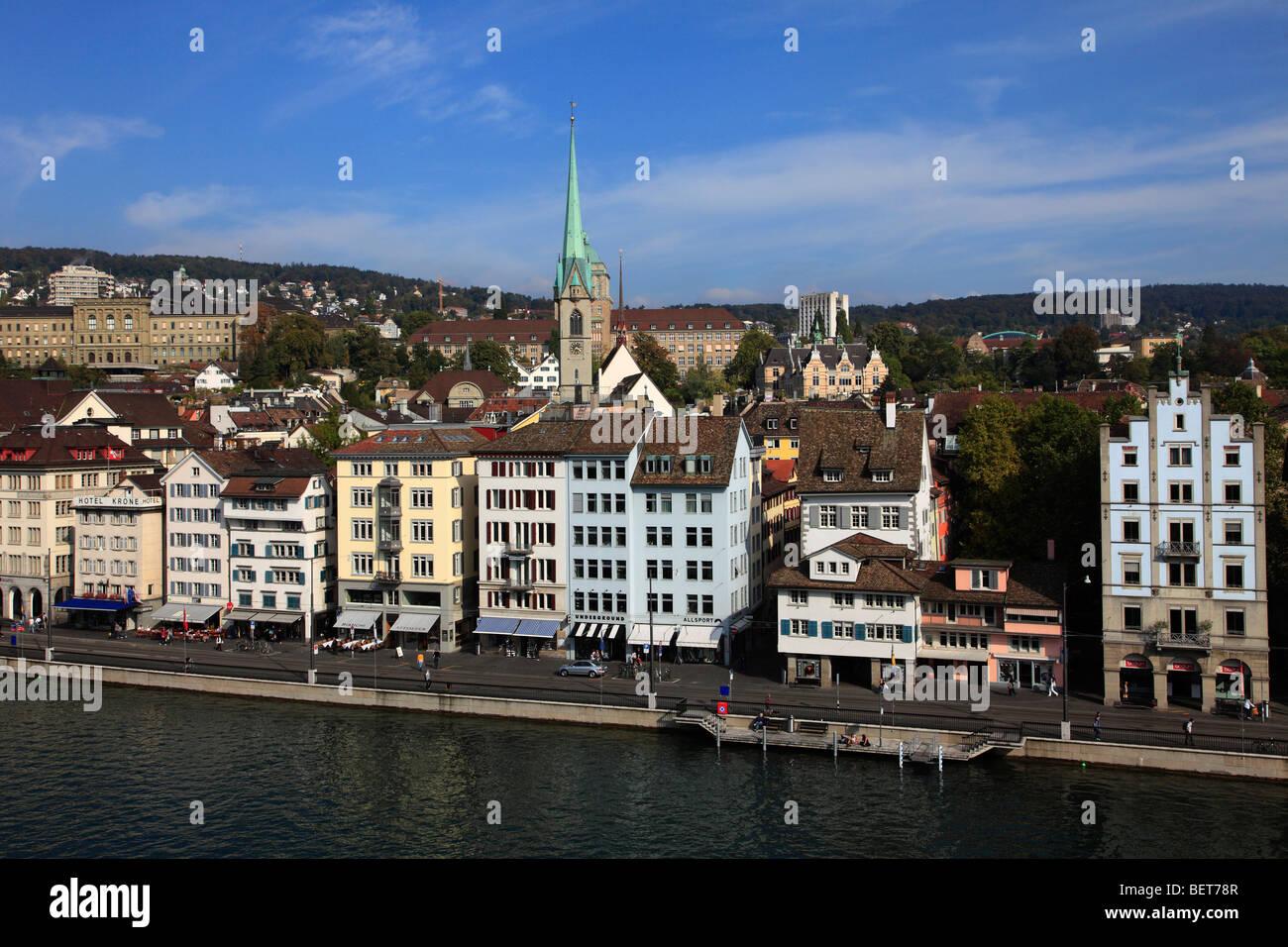 Switzerland, Zurich, skyline, general view, Limmat Quai - Stock Image