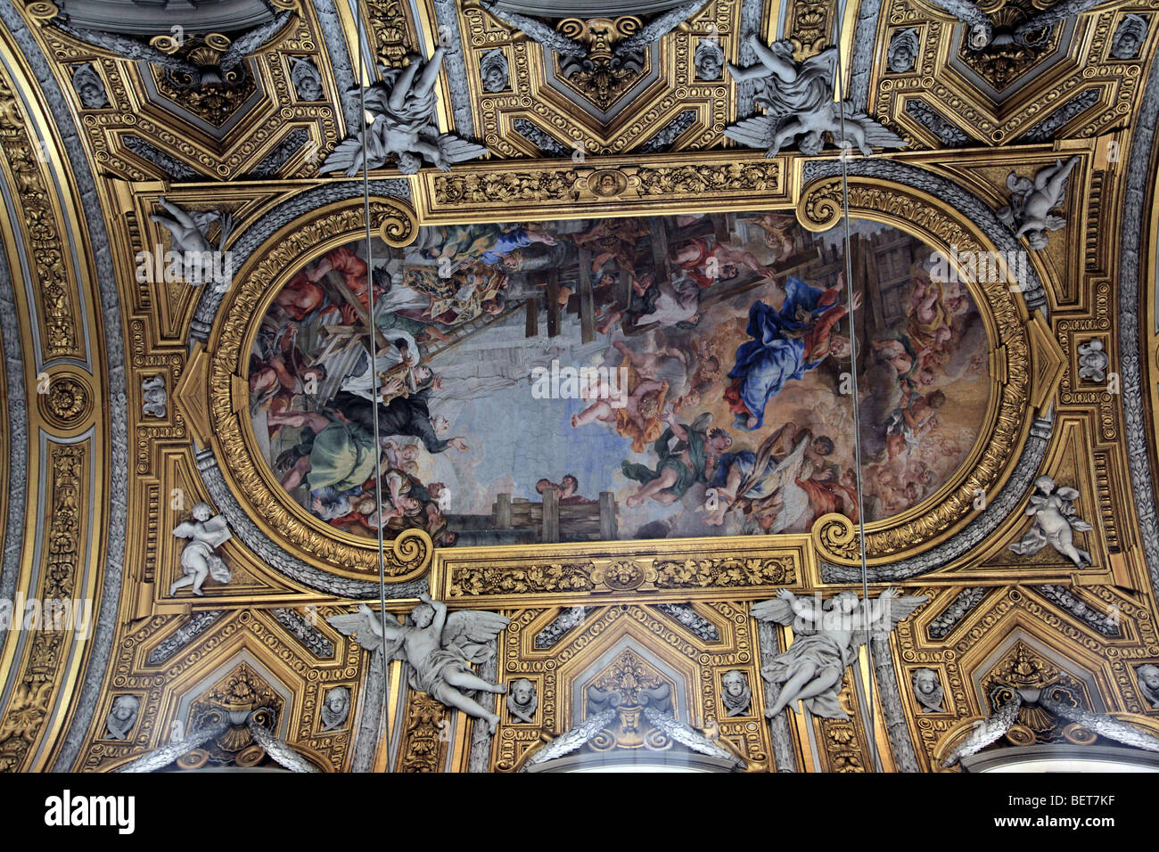 Ornate ceiling of Chiesa Nuova in Rome Italy - Stock Image