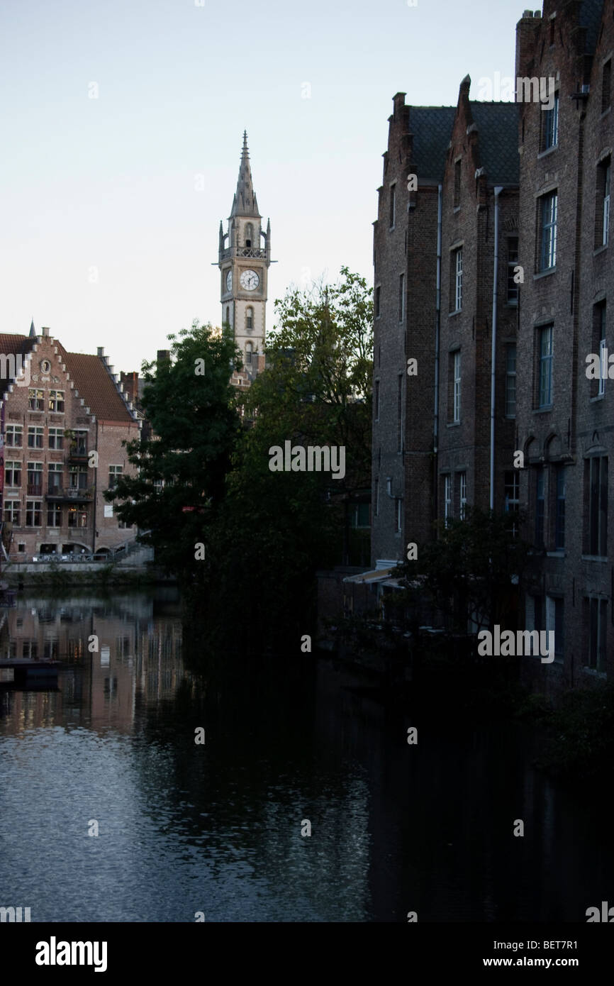 Clock tower in the historic centre of Ghent, Belgium Stock Photo