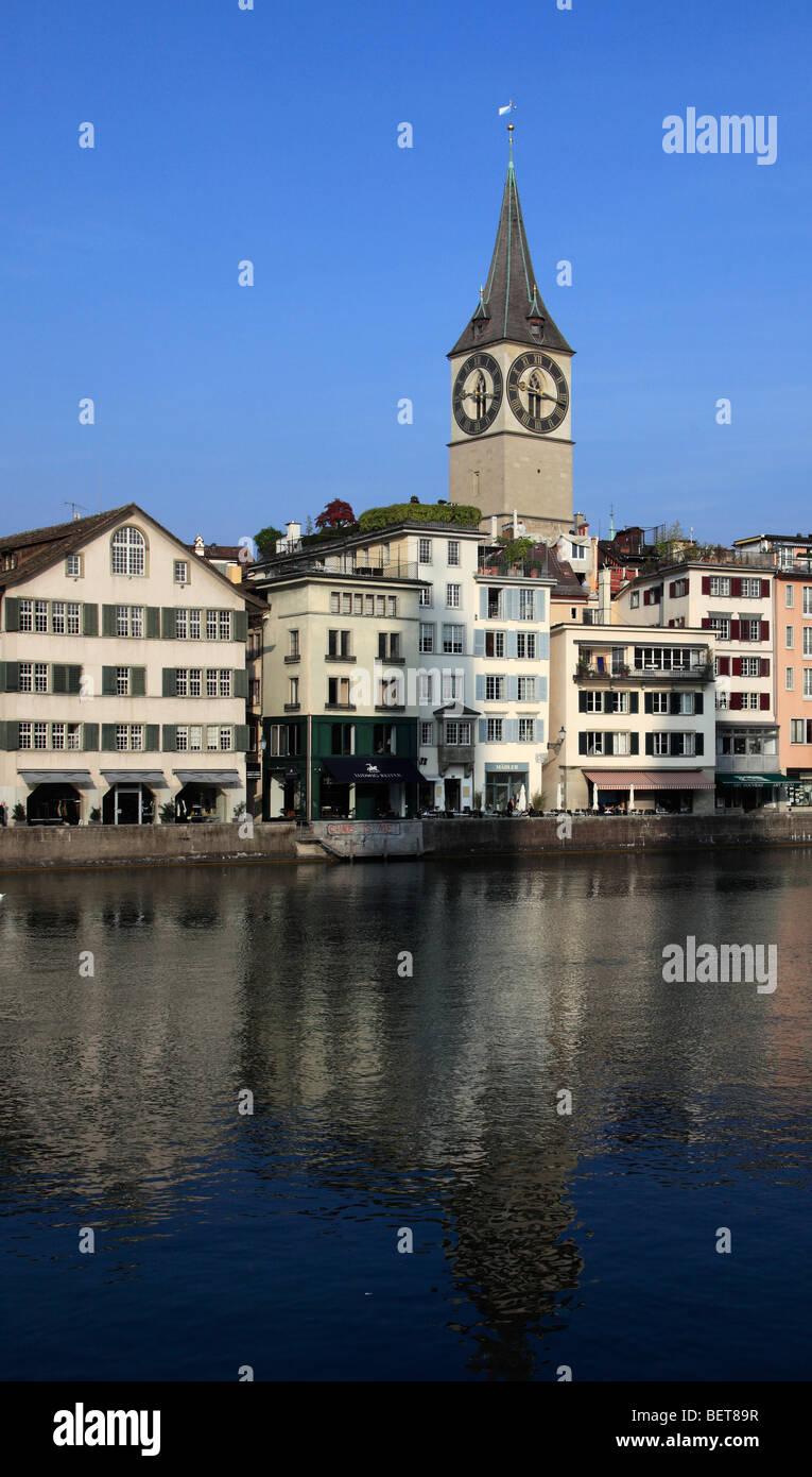 Switzerland, Zurich, St Peter Church, Limmat River - Stock Image